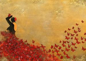 SPANIEN flamenco schmetterlinge gold rot tanz