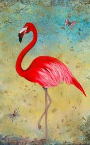 FLAMINGO gold aruba karibik pink blau schmetterling