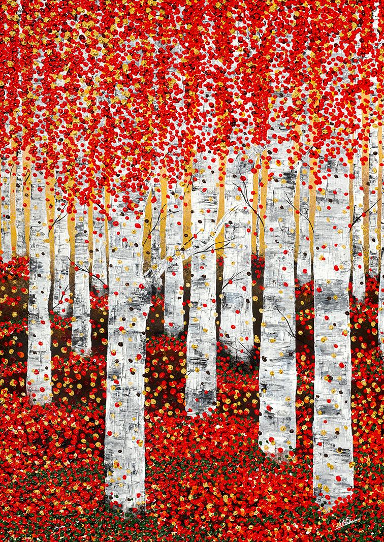 Birkenwald Herbstwald rot Herbst Nadia Schreiner