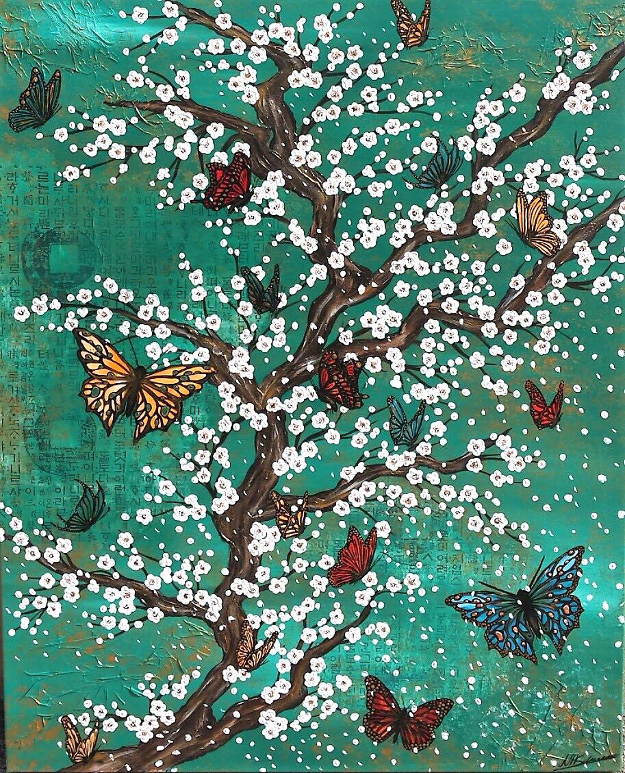 schmetterling grün japan kirschblüten