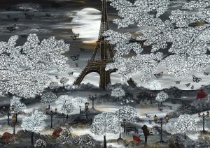 Paris frühling schwarz weiss eiffelturm