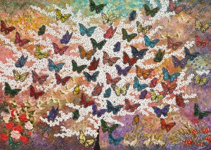Schmetterling schmetterlinge bunt kirschblüten acryl bild kunst