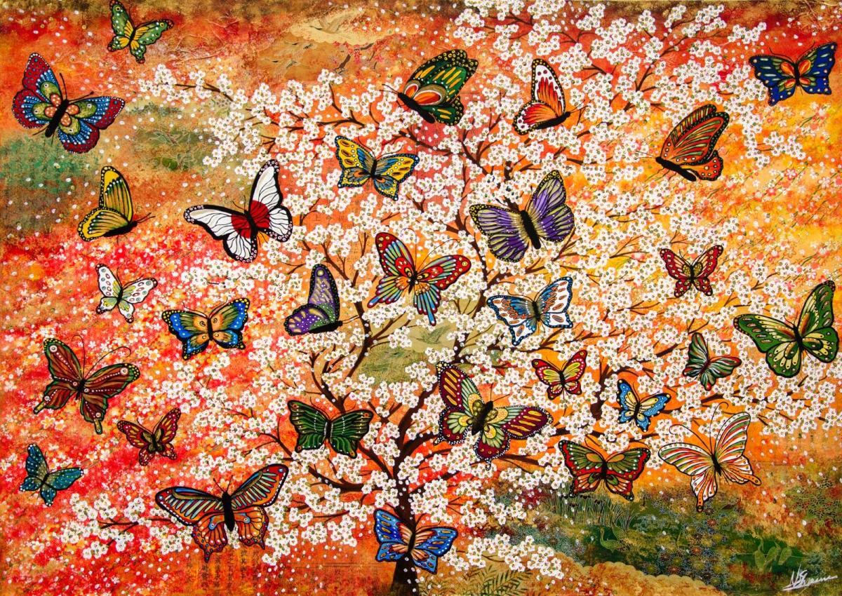 schmetterlinge bunt kirschblüten bild farbe
