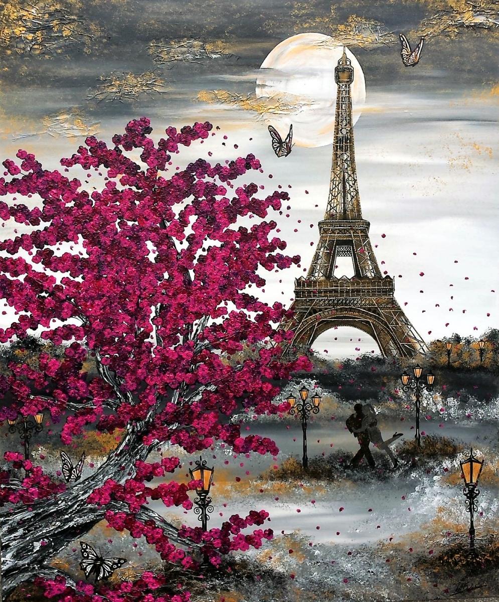 Paris eiffelturm kirschblüte magenta schmetterling