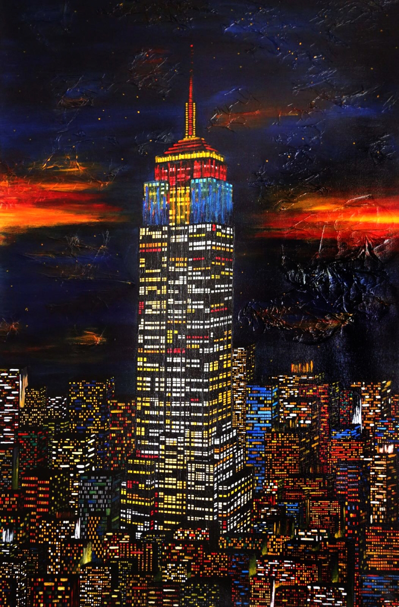 NY empire state building nacht skyline new york