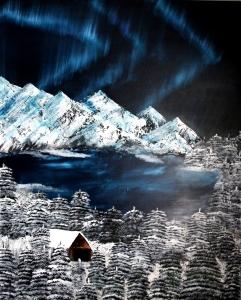 nordlicht polar winter nacht grün schnee