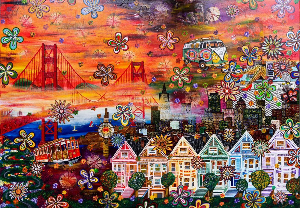 SAN FRANCISCO flower power hippie golden gate bridge bus t1