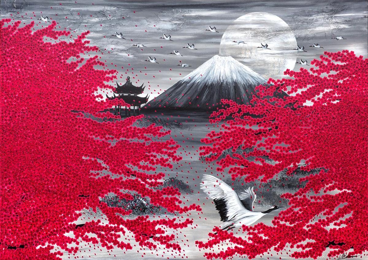 japan kirschblüte kranich fuji