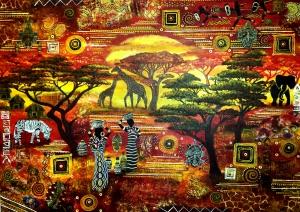 Afrika giraffe zebra baum elefant