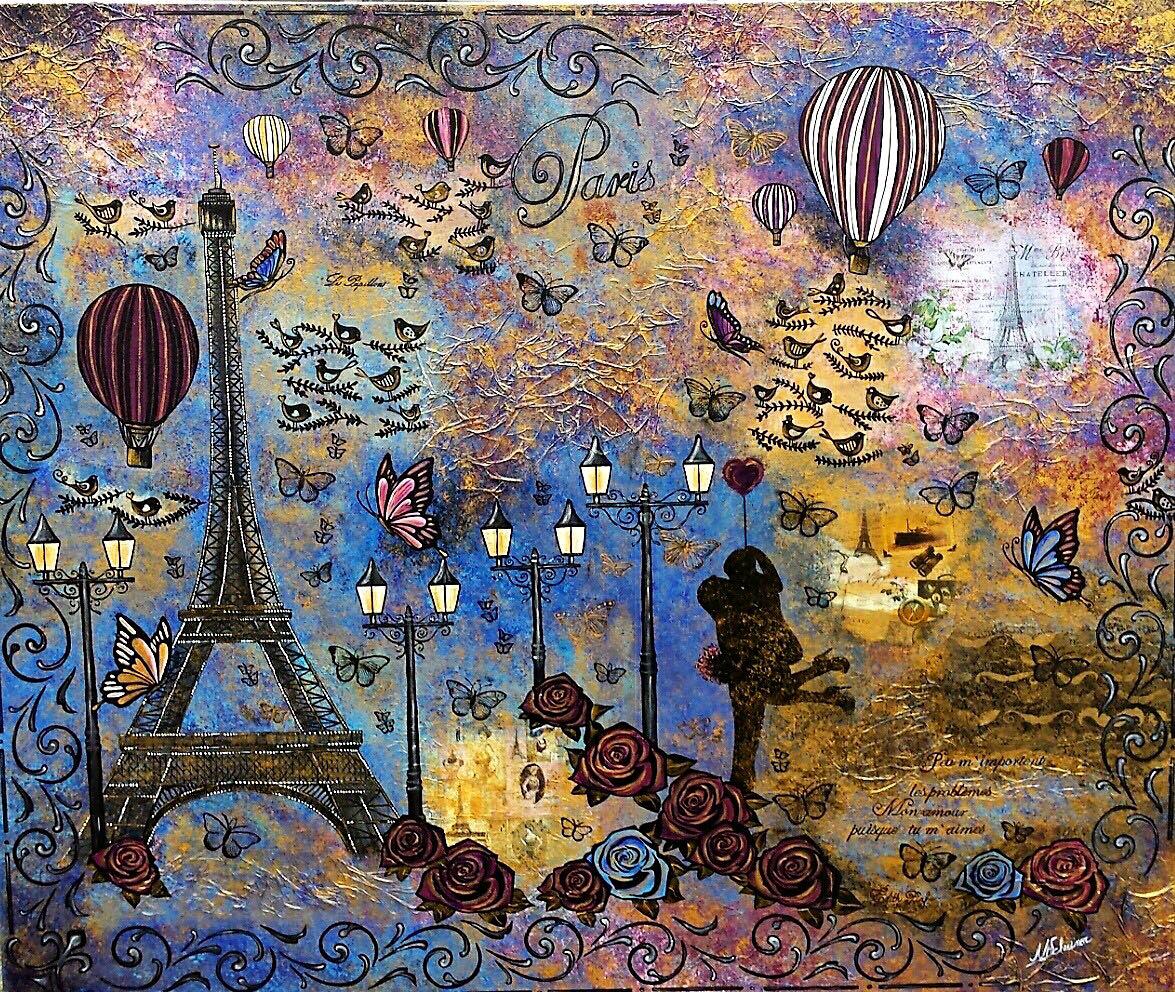 Paris Eiffelturm liebe ballon schmetterling rosen