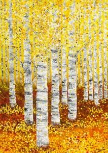 wald birken herbst gelb orange punkte