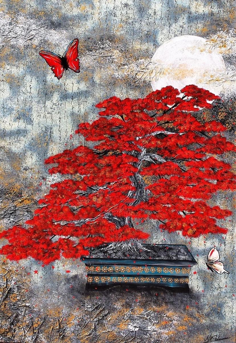 bonsai japan rot schmetterling