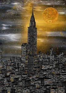 NY New york chrysler building mond gold nacht skyline manhattan acryl bild
