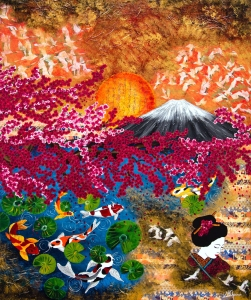 japan koi fuji kirschblüten