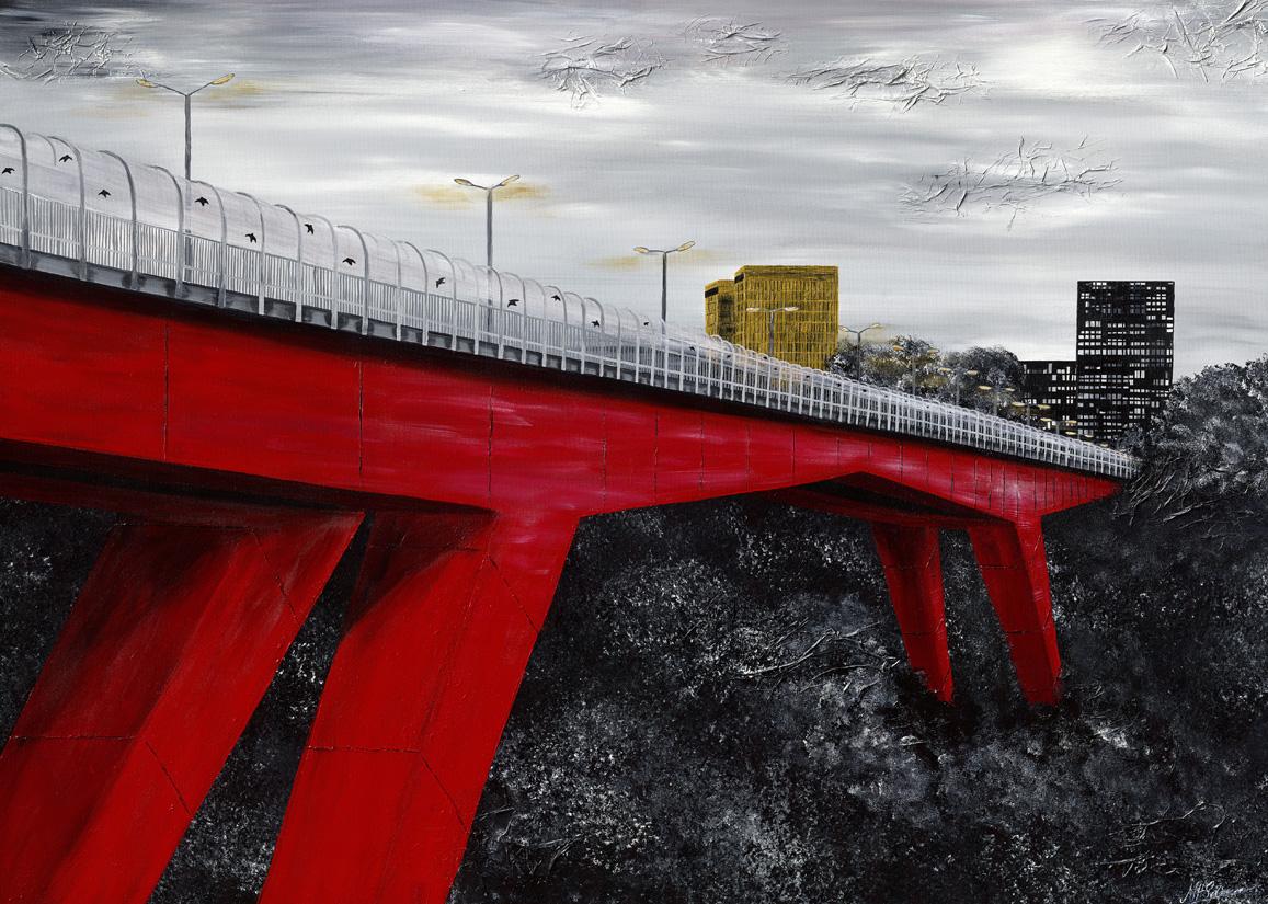 rote brücke luxemburg stadt skyline