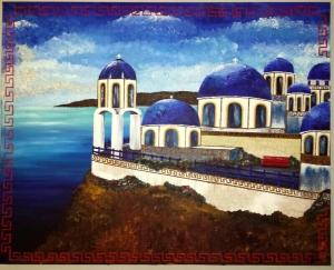 griechenland sommer blau