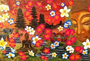 bali buddha blüten elefant