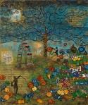 Leinwand Druck Gemälde Acryl Bild Malerei Nadia Schreiner painting journeys WIEN WALZER WIENER KLIMT HUNDERTWASSER MOZART PRATER