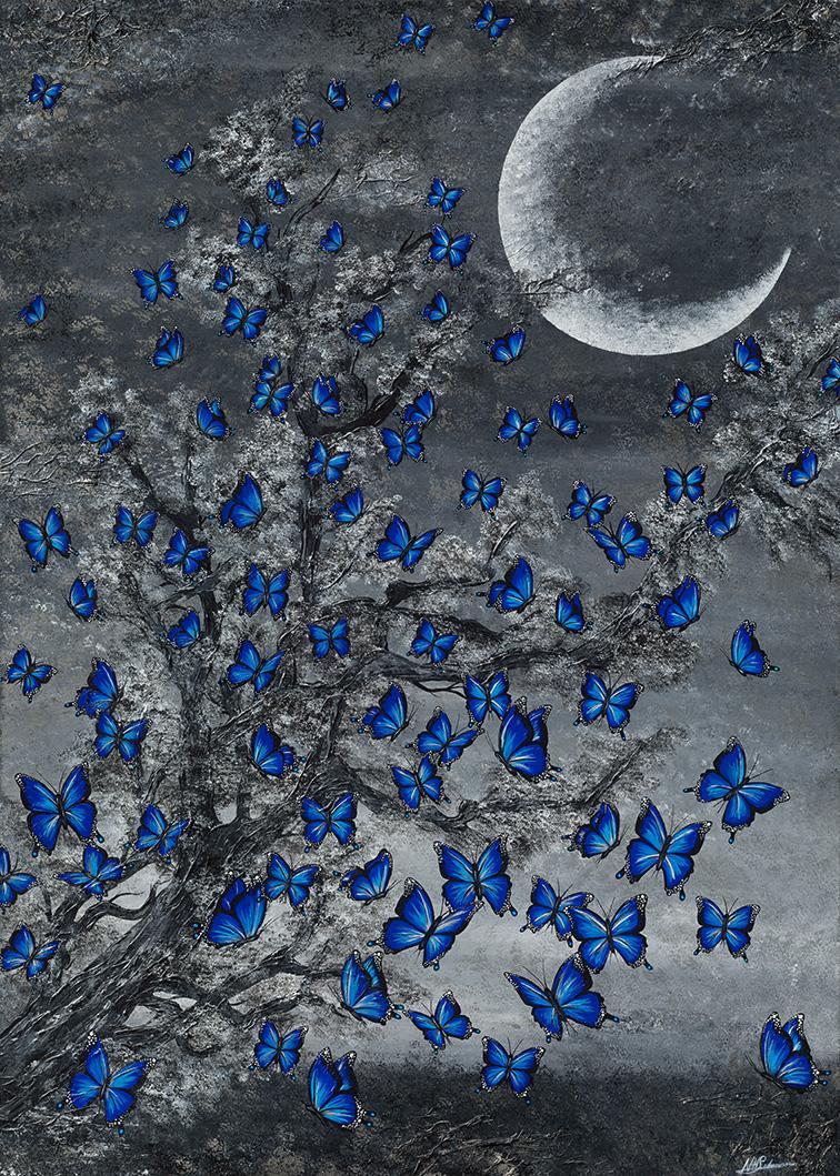 Leinwand Druck Gemälde Acryl Bild Malerei Nadia Schreiner painting journeys SCHMETTERLINGE BLAU MOND FALTER SCHMETTERLING MORPHOFALTER