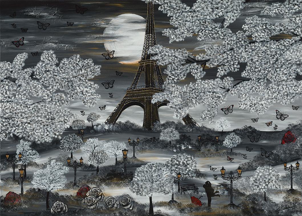BONJOUR PAPILLON PARIS NADIA SCHREINER PAINTING JOURNEYS ACRYL BILD