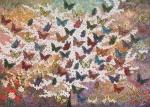 Leinwand Druck Gemälde Acryl Bild Malerei Nadia Schreiner painting journeys SCHMETTERLINGE BUTTERFLY SCHMETTERLING KIRSCHBLÜTE JAPAN