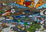 Leinwand Druck Gemälde Acryl Bild Malerei Nadia Schreiner painting journeys RIO DE JANEIRO BRITTO FUSSBALL COPACABANA