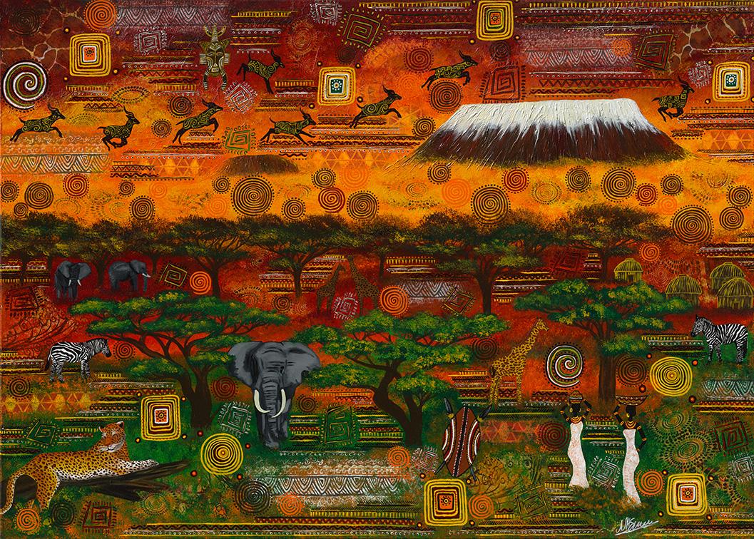 Leinwand Druck Gemälde Acryl Bild Malerei Nadia Schreiner painting journeys KILIMANJARO AFRIKA ELEFANT GIRAFFE LEOPARD