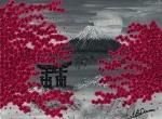 Leinwand Druck Gemälde Acryl Bild Malerei Nadia Schreiner painting journeys JAPAN KIRSCHBLÜTE FUJI HARU