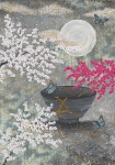 Leinwand Druck Gemälde Acryl Bild Malerei Nadia Schreiner painting journeys KINTSUGI UNBREAKABLE RISS SCHÖNHEIT KIRSCHBLÜTE