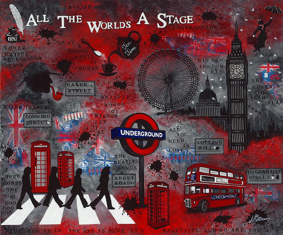 Leinwand Druck Gemälde Acryl Bild Malerei Nadia Schreiner painting journeys LONDON BEATLES UNDERGROUND MARY POPPINS BIG BEN ROT SHAKESPEARE