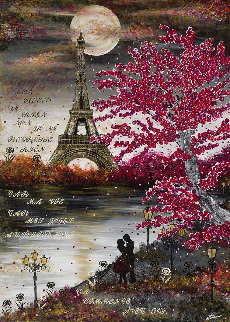 Leinwand Druck Gemälde Acryl Bild Malerei Nadia Schreiner painting journeys Paris ma môme Edith Piaf Eiffelturm Kunstdruck Fine Art Print on Canvas Nadia Schreiner