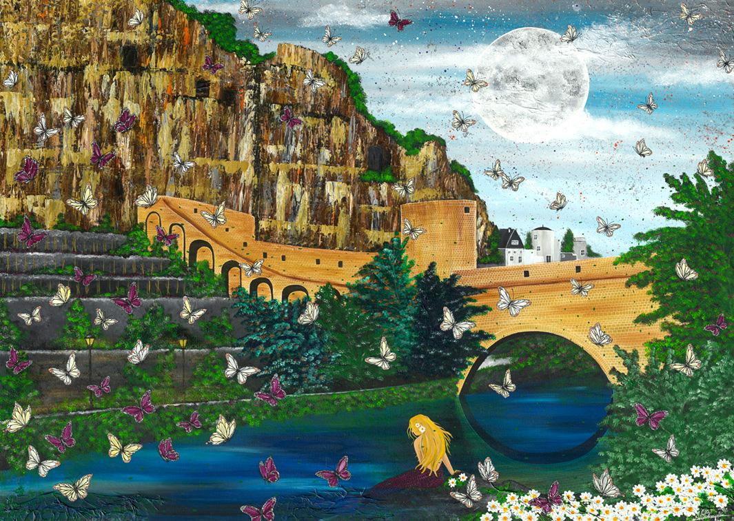 Luxemburg Luxembourg Melusina Sage Märchen Meerjungfrau Grund Stadt Fluss Schmetterling Kasematten
