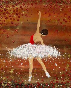 Ballerina fliegen tanzen prima blumen blüten gold