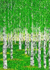 Wald punkte frühling kunst bild acryl pop art grün birke birken blumen