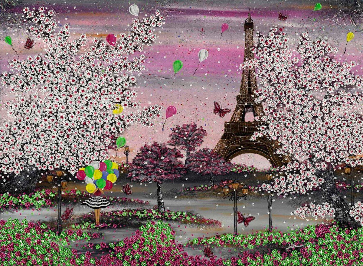 Paris Eiffelturm Frühling Blüten Luftballons Nadia Schreiner Schmetterling Freude