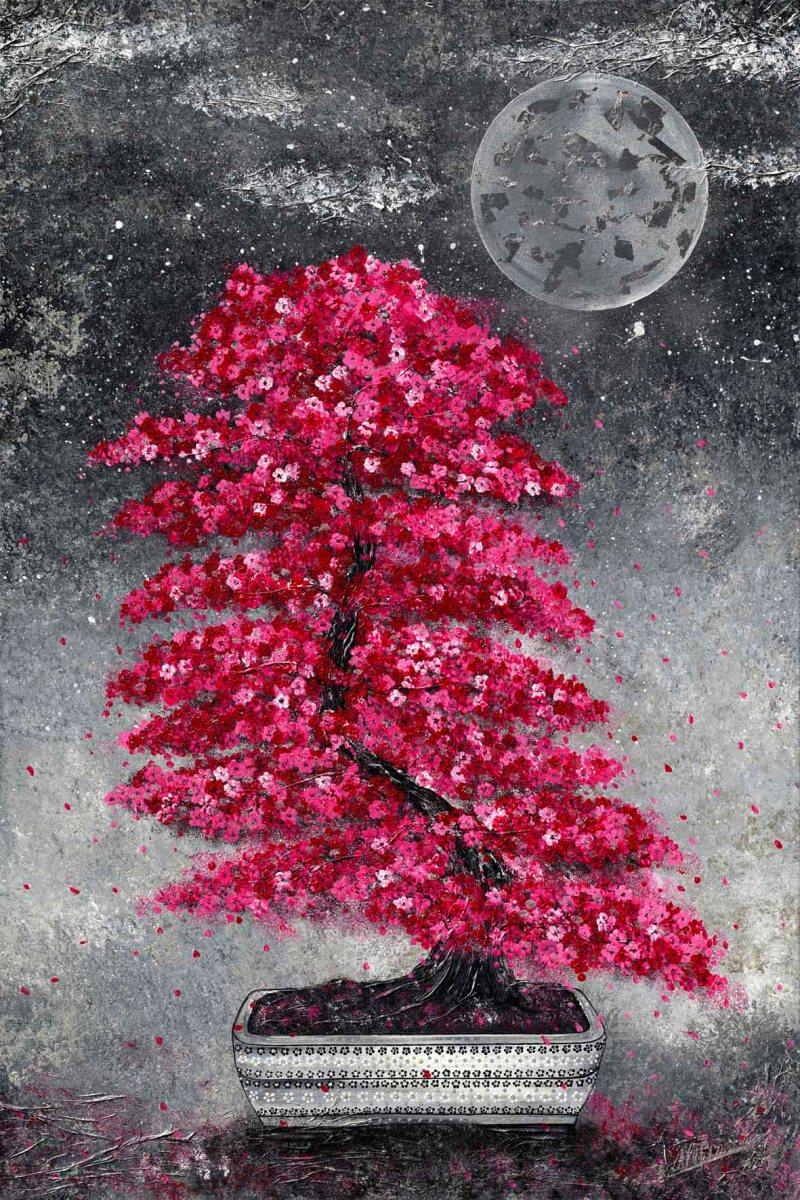 Bonsai pink Japan Blüten Topf Mond schwarz weiss Nadia Schreiner Nadja