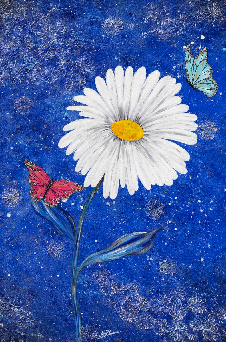 Blume Schmetterling blau Margeritte Blüte