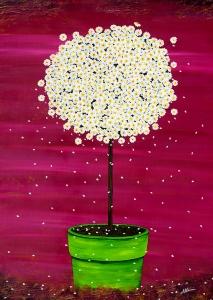Nadia Schreiner Painting Journeys Margeritte Topf pink grün Blumen Kunst Acryl Galerie Leinwand