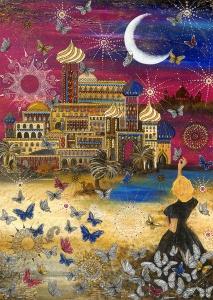 Nadia Schreiner Painting Journeys Schmetterling Prinzessin Arabisch Nächte Mond Traum 1001 Nacht Kunst Acryl Galerie