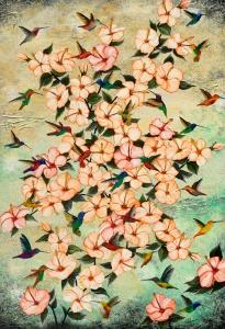 Nadia Schreiner Painting Journeys Kloibri Kolibris Blüten Hibiscus Sommer Fliegen Kunst Acryl Galerie