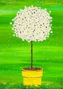Nadia Schreiner Painting Journeys Mergeritte grün Topf gelb Blüten Blumen Sommer Happy Kunst Acryl Galerie