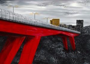 Nadia Schreiner Painting Journeys Rote Brücke Luxemburg Kirchberg Fluss Kunst Acryl Galerie