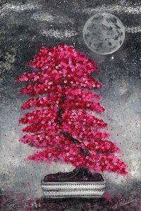 Nadia Schreiner Painting Journeys Bonsai pink Japan Mond Kunst Acryl Galerie