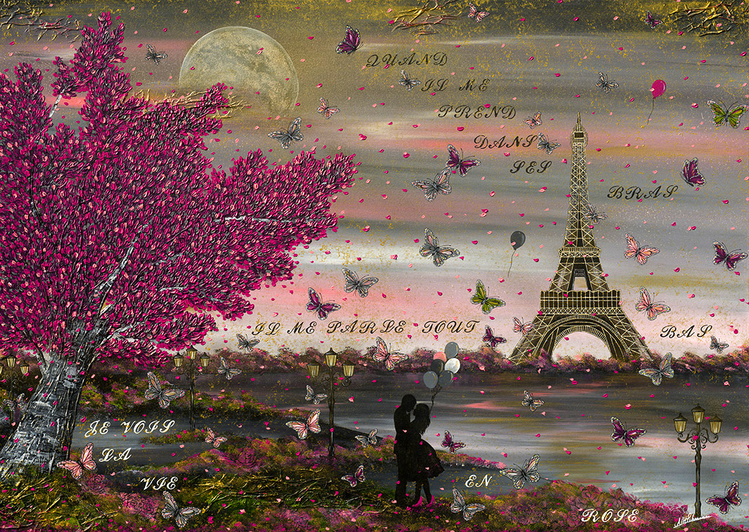 Paris Eiffelturm Schmetterlinge Nadia Schreiner Painting Journeys la vie en rose