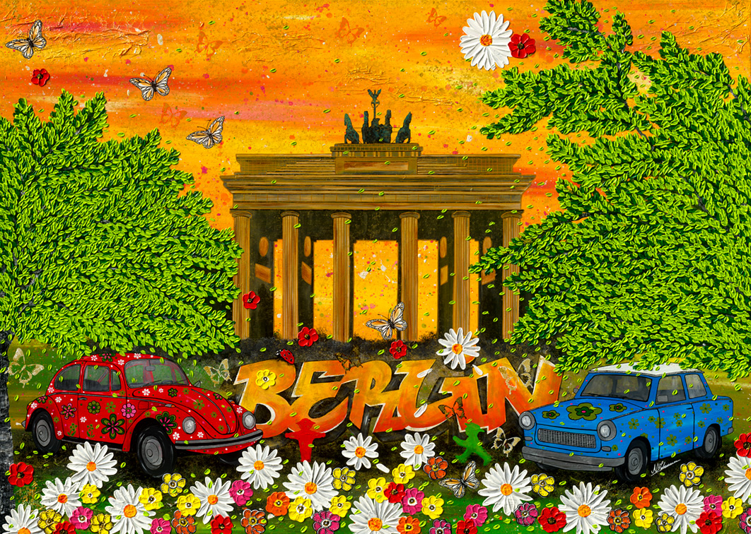 Berlin linden trabi käfer brandenburger tor pop art hippie
