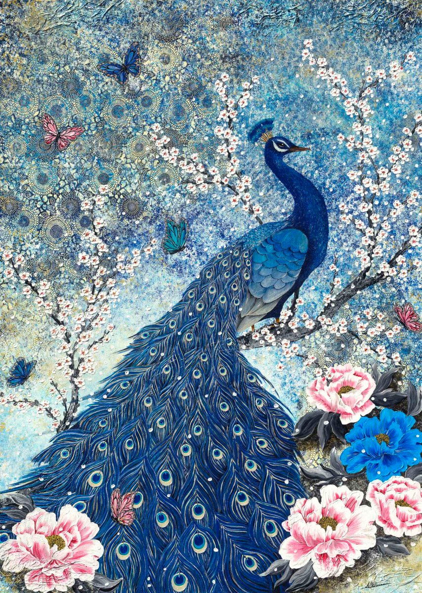 Pfau Blumen Schmetterling Nadia Schreiner