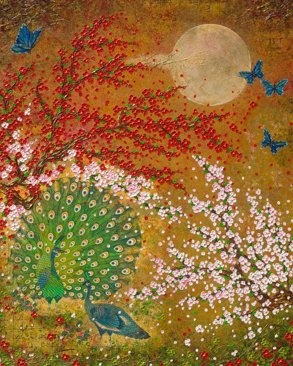 Pfau Japan Nadia Schreiner Painting Journeys Mond Kirschblüte