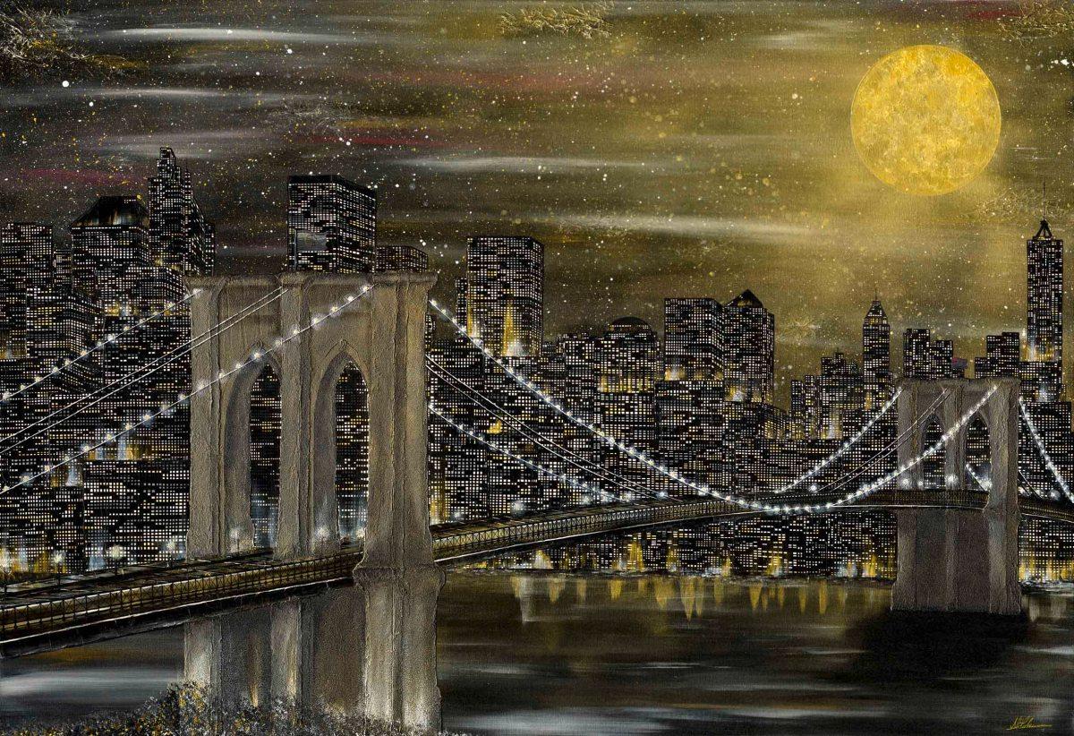 New York Nadia Schreiner Painting Journeys Gold Mond Brooklyn Bridge Acrylic Canvas
