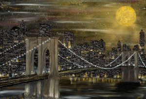 New York Nadia Schreiner Painting Journeys Gold Mond Brooklyn Bridge Acrylic Canvas