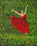 Ballerina grün rot Nadia Schreiner Painting Journeys Blüten Blumen